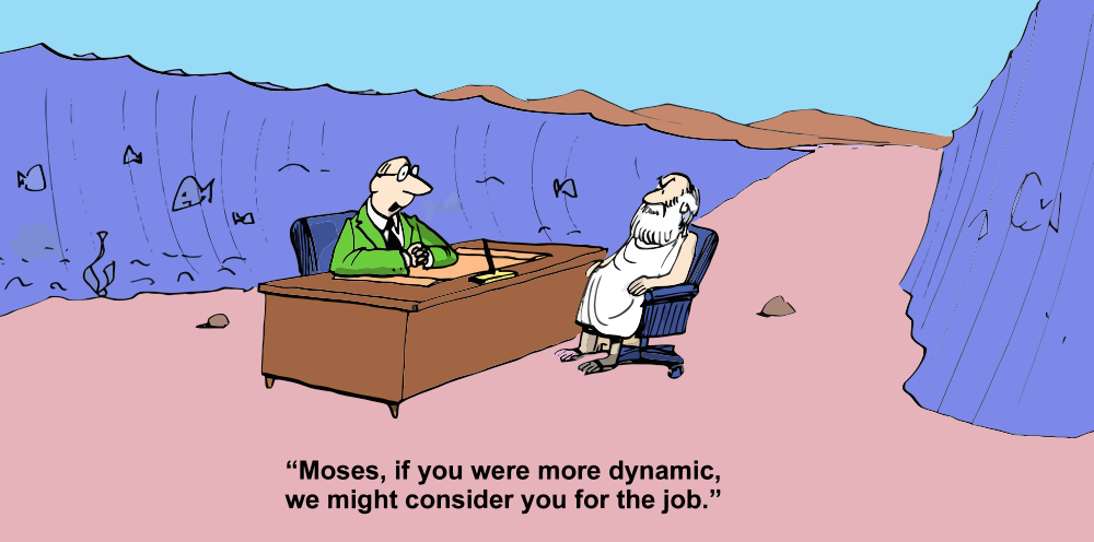Moses at a job interview